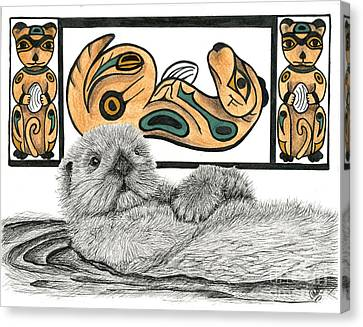 Sea Otter Totem Canvas Print by Christine Matha