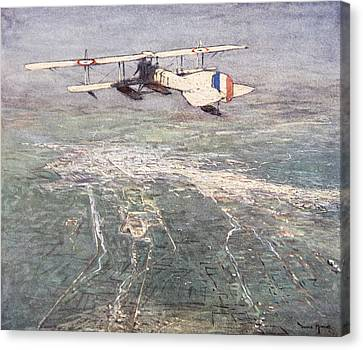 Sea-plane Flying Over Damascus Canvas Print by Donald Maxwell