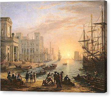 Sea Port At Sunset Canvas Print by Claude Lorrain