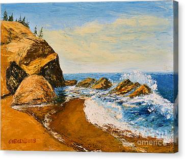 Sea Scape - Trees On Cliff Canvas Print