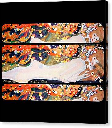 Sea Serpent IIi Tryptic After Gustav Klimt Canvas Print by Anna Porter