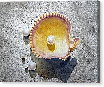 Seashell Canvas Print - Sea Shell And Pearls by Irina Sztukowski