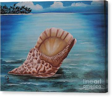 Canvas Print featuring the painting Sea Shell by Dianna Lewis
