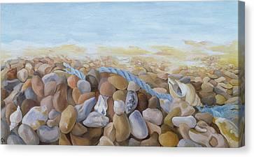 Sea Shore Oil On Canvas Canvas Print by Cristiana Angelini
