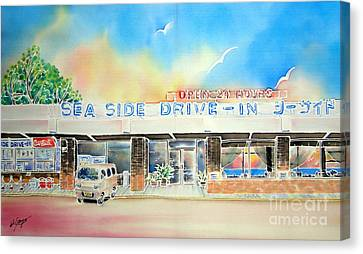 Sea Side Drive In Canvas Print by Hisayo Ohta