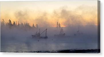Sea Smoke Down East Maine  Canvas Print by Trace Kittrell