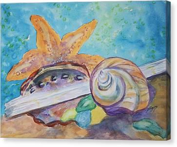 Interior Still Life Canvas Print - Sea Star-abalone-snail Shell by Ellen Levinson