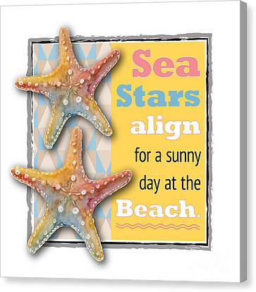Sea Stars Align For A Sunny Day At The Beach. Canvas Print by Amy Kirkpatrick
