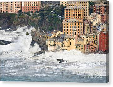 Canvas Print featuring the photograph Sea Storm In Camogli - Italy by Antonio Scarpi