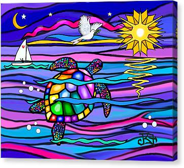 Sea Turle In Blue And Pink Canvas Print by Jean B Fitzgerald