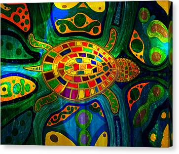 Sea Turtle - Abstract Ocean - Native Art Canvas Print