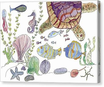 Canvas Print featuring the painting Sea Turtle And Fishies by Helen Holden-Gladsky