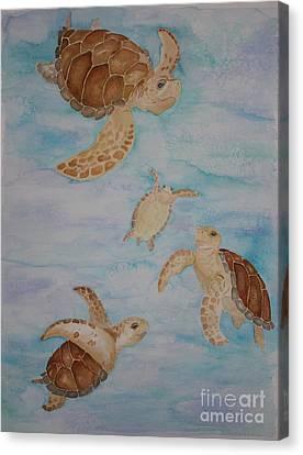 Sea Turtle Family Canvas Print by Carol Fielding