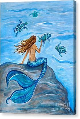 Sea Turtle Friends Canvas Print by Leslie Allen