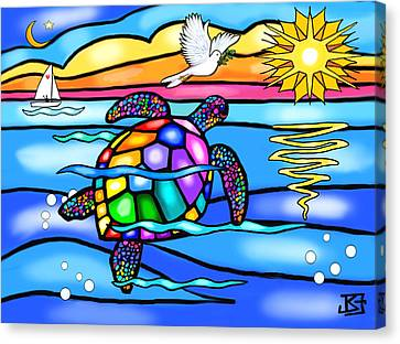 Sea Turtle In Turquoise And Blue Canvas Print by Jean B Fitzgerald