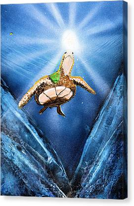 Sea Turtle Canvas Print by Just Joszie