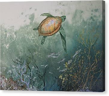 Sea Turtle Canvas Print by Nancy Gorr