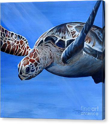 Sea Turtle Near Maui Canvas Print by Suzanne Schaefer