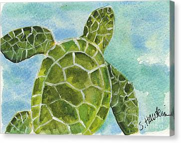 Sea Turtle Watercolor Canvas Print by Sheryl Heatherly Hawkins