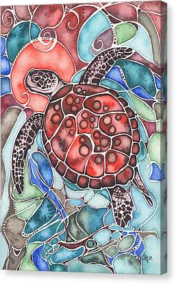 Canvas Print featuring the painting Sea Turtle by Tamara Phillips