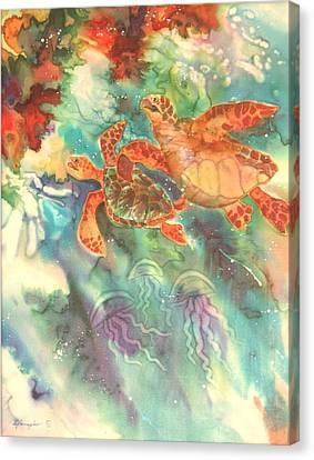 Sea Turtles Canvas Print by Deborah Younglao