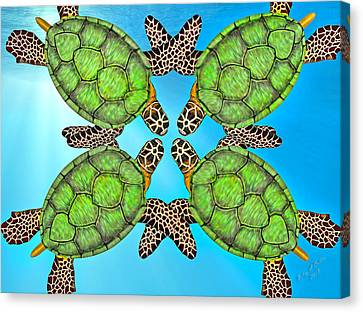 Gathering Canvas Print - Sea Turtles by Betsy Knapp