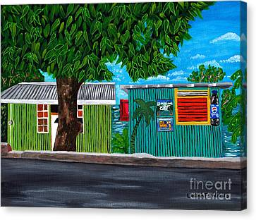 Canvas Print featuring the painting Sea-view Cafe by Laura Forde