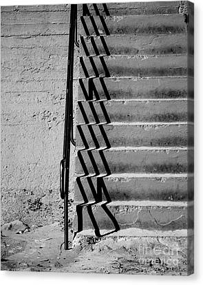 Sea Wall Steps Canvas Print by Perry Webster