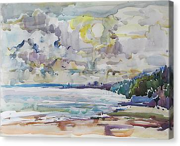 Sea Water Colour Canvas Print by Juliya Zhukova