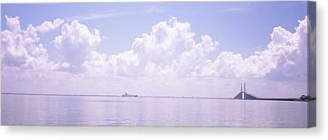 Sea With A Container Ship Canvas Print