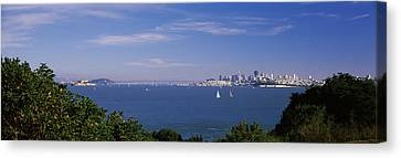 Sea With The Bay Bridge And Alcatraz Canvas Print by Panoramic Images