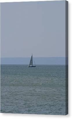 Sea Yacht  Land Sky Canvas Print by Phoenix De Vries