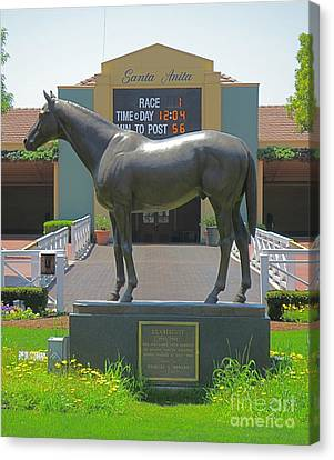 Seabiscuit Statue At Santa Anita Race Track  Canvas Print
