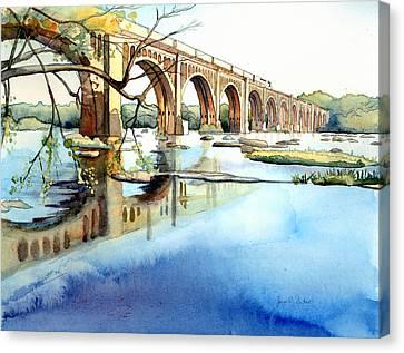 Csx Train Canvas Print - Seaboard Bridge Crossing The James  by Jim Smither