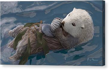 Otter Canvas Print - Seafood For Lunch by Gary Hanna