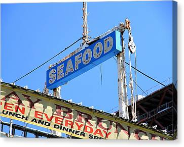 Seafood Sign Canvas Print by Valentino Visentini