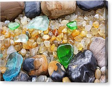 Seaglass Art Prints Coastal Beach Sea Glass Canvas Print by Baslee Troutman