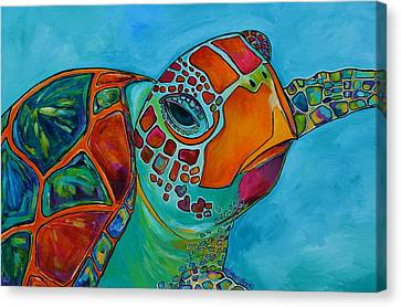 Seaglass Sea Turtle Canvas Print by Patti Schermerhorn