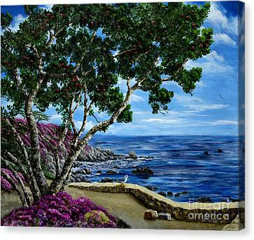Seagull At Pacific Grove Overlook Canvas Print