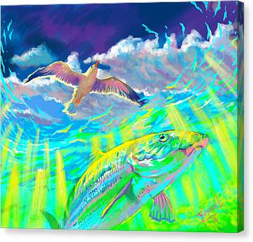 Fish Tanks Canvas Print - Seagull Over The Flats  by Yusniel Santos