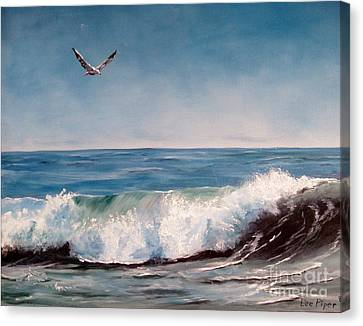 Canvas Print featuring the painting Seagull With Wave  by Lee Piper