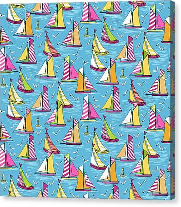Seagulls And Sails Springtime Canvas Print