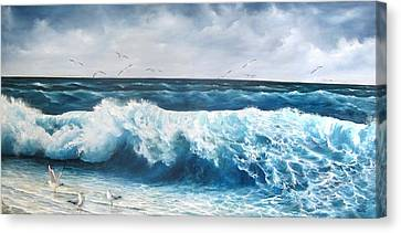 Seagulls Canvas Print by Katia Aho