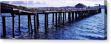 Seagulls On A Pier, Whidbey Island Canvas Print by Panoramic Images