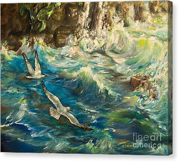 Seascape Canvas Print - Seagulls Over The Rough Sea by Zina Stromberg