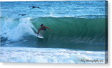 Seagulls Surfing Canvas Print by Marty Gayler
