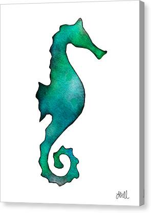 Canvas Print featuring the painting Seahorse by Laura Bell