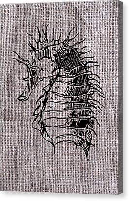 Seahorse On Burlap Canvas Print