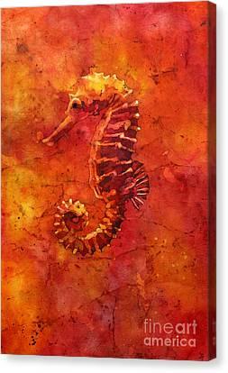 Seahorse Watercolor Batik Canvas Print by Ryan Fox