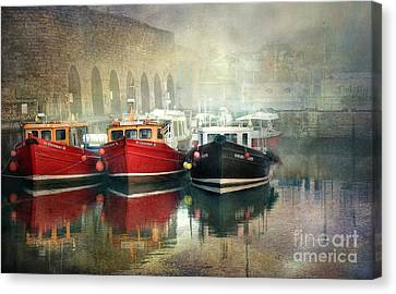Canvas Print featuring the photograph Seahouses Harbour In Mist by Brian Tarr